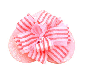 pink gift box with  ribbon and bow isolated on white with clipping path top view