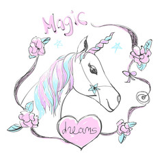 Fantastic beautiful unicorn with rainbow colors horn and mane. Vector cute illustration with Magic dreams hand written text.