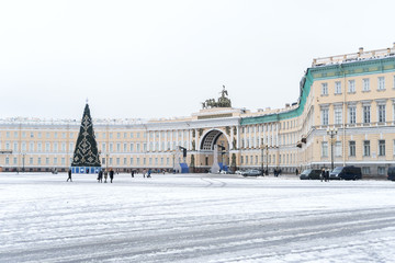 Palace Square with tree in Saint Petersburg.