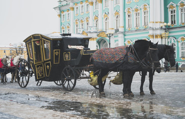 Carriage near the Winter Palace in Saint Petersburg.