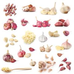 Set with raw fresh garlic on white background