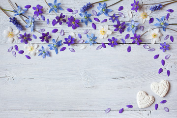 Spring flowers of anemones and snowdrops on a wooden background.