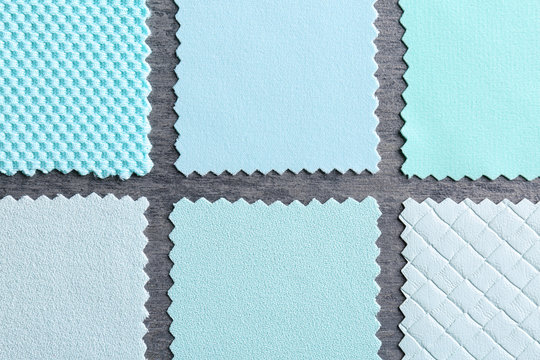 Fabric samples on grey background