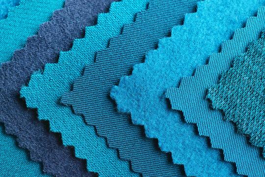 Blue fabric samples, closeup
