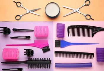 Professional hairdresser set on color background
