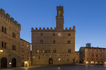 Priori Palace and square in the blue hour, Volterra, Pisa, Tuscany, Italy