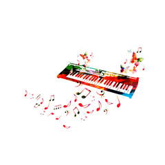 Music poster with colorful piano keyboard and music notes isolated vector illustration design