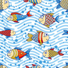 Seamless marine pattern with cartoon fishes