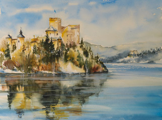 Castle in Niedzica,Poland in autumn scenery.Picture created with watercolors.
