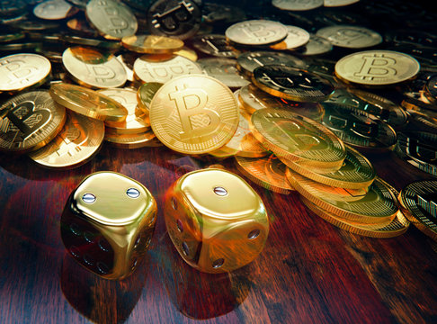 Bitcoin dice gamble coins and golden dice