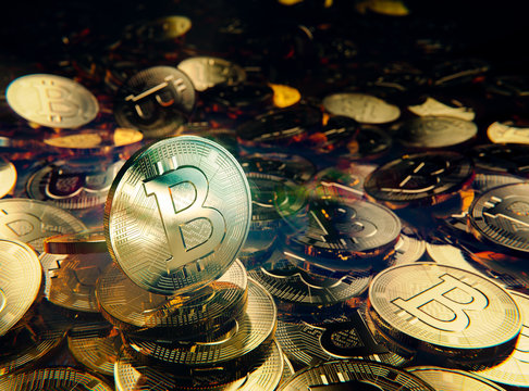 Bitcoin fortune stack of  golden coins