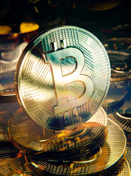 Crypto currency golden coin symbol Bitcoin