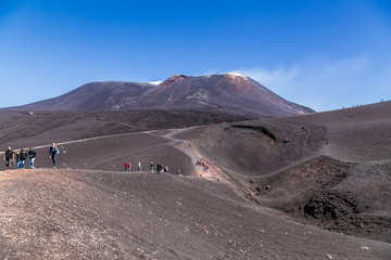 The volcano of Etna, Sicily, Italy. The view of the main apex from the side of one of the lateral craters