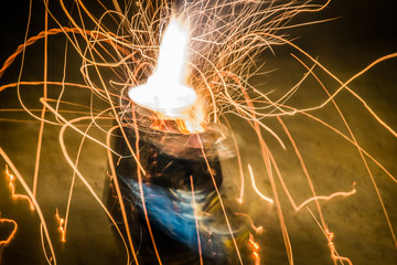Fire works and sparkles on dark background