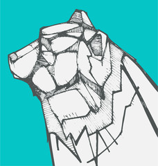 Polar bear hand drawn illustration
