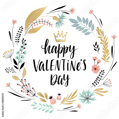 Wall mural Valentine`s Day Callygraphic Wreath - hand drawn