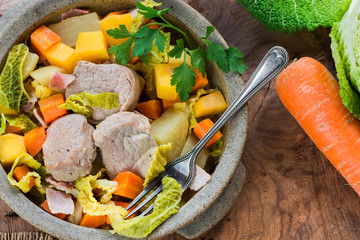 Irish stew with pork and vegetables cooked in cider - top view
