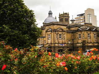 Harrogate is a town in North Yorkshire, England, east of the Yorkshire Dales National Park. Its heritage as a fashionable spa resort continues