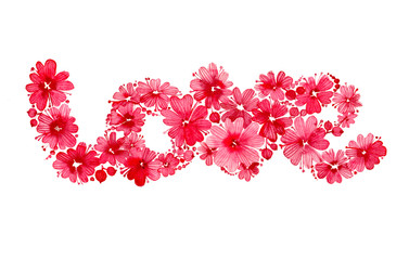 """Valentines day card with floral inscription of the word """"love"""" collected of flowers and berries. Romantic letering painted in watercolor, isolated on white background."""