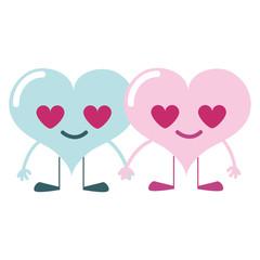 colorful couple heart in love kawaii cartoons