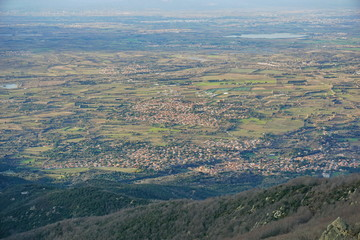 France Pyrenees Orientales villages in the Roussillon plain seen from the heights of the massif des Alberes