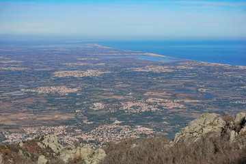 France the Roussillon plain on the shore of the Mediterranean sea, Pyrenees Orientales, landscape from the heights of the massif des Alberes