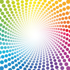 Spiral pattern - rainbow colored tunnel with light center - twisted circular background illustration, hypnotic and psychedelic.