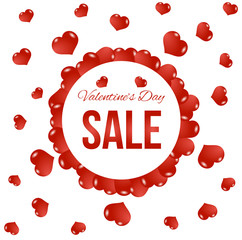 Round Valentine's Day Sale Banner with Flying Red Hearts