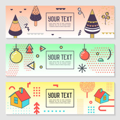 Horizontal Banners Set Memphis Style with Geometric Elements. Poster Invitation Voucher Templates. Abstract Cards Design. Vector illustration