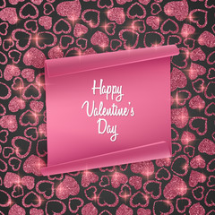 Valentines day card background with seamless heart pattern, glittering texture and realistic paper. Vector illustration. Wallpaper, illustration for flyers, posters and brochure covers
