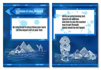 brochure sands ancient egypt on blue background advertising