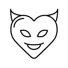 Vector illustration. Silhouette of devil heart with horns. Valentine's Day symbol. Template or pattern.