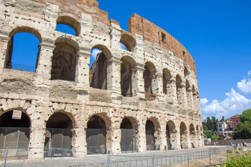 Part of the Roman Colosseum amphiteater in Rome, Italy