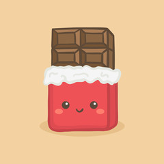 Cute Chocolate Bar with red silver wrapping foil Vector Illustration Cartoon Character Icon