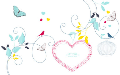 Abstract background with flower buds and butterflies. Flower greeting frame in the shape of a heart. Heart with flower petals.