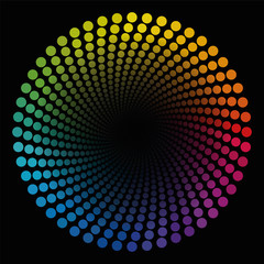 Colored spiral dots pattern tube - rainbow colored geometric twisted circular illustration with black center that seems to expand - optical illusion.