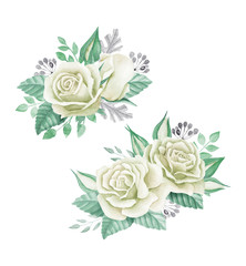 White roses bouquet. Watercolor illustration. Cute vintage style wreath, border, frame. Wedding invitation card element. Greeting card design