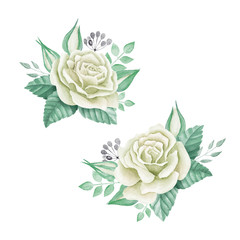 White roses bouquet. Watercolor illustration. Cute vintage style. Wedding invitation card element. Greeting card design
