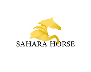 Sahara Horse Logo Design Template Flat Style Design. Vector Illustration