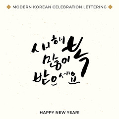Happy New Year, Modern Korean Hand Lettering Collection, Vector Korean Calligraphy Background, Hangul Brush Lettering, Korean Phrase and Words