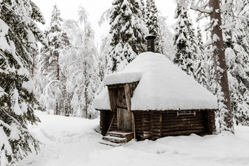 a wooden house in the Korouoma Nature Reserve, Finland. South Lapland, municipality of Posio.
