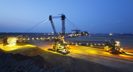 Panoramic Giant Bucket-Wheel Excavator At Night
