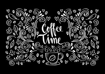 Coffee time hand lettering.