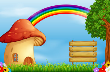 red mushroom house and rainbow on forest