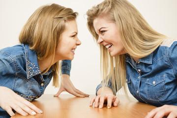 Two women having argue fight
