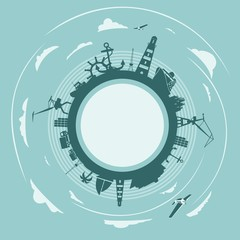 Circle with sea shipping and travel relative silhouettes. Objects located around the circle. Field for text. Modern brochure, report or leaflet design template. Cloudscape with airplanes