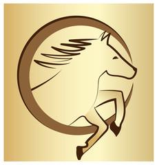 Gold horse symbol background