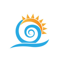 Swirly waves under the sun, vector icon