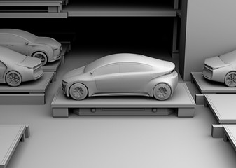 Clay rendering of automated guided vehicle carrying a car to parking space. Concept for automatic car parking system. 3D rendering image.