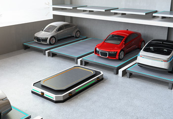After parking red car at parking space. Automated Guided Vehicle (AGV) leaving the parking space to picking next car. Concept for automatic car parking system. 3D rendering image.